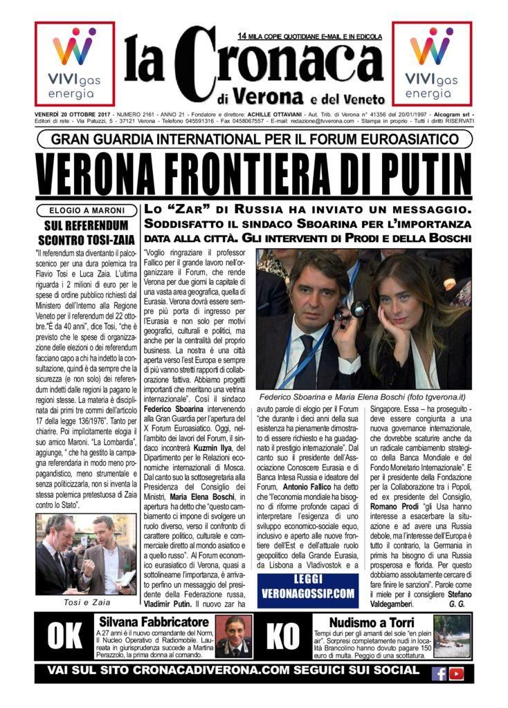 thumbnail of La Cronaca di Verona 20 ottobre 2017
