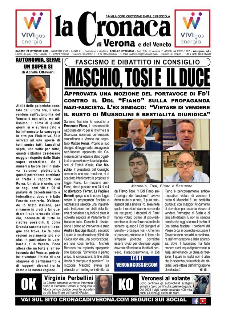 thumbnail of La Cronaca di Verona 21 ottobre 2017