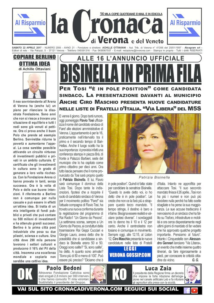 thumbnail of La Cronaca di Verona 22 aprile 2017