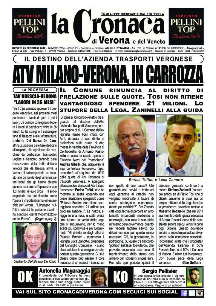 thumbnail of La Cronaca di Verona 23 febbraio 2017