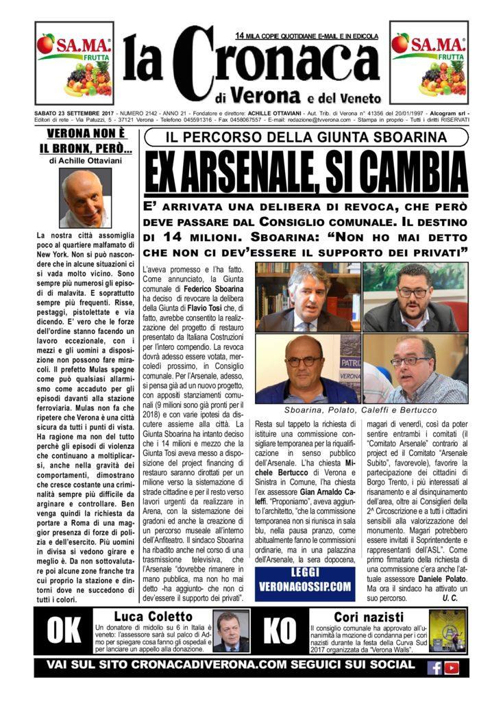 thumbnail of La Cronaca di Verona 23 settembre 2017