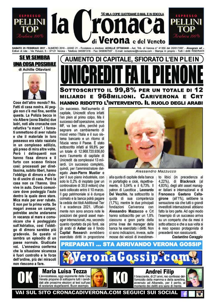 thumbnail of La Cronaca di Verona 25 febbraio 2017_