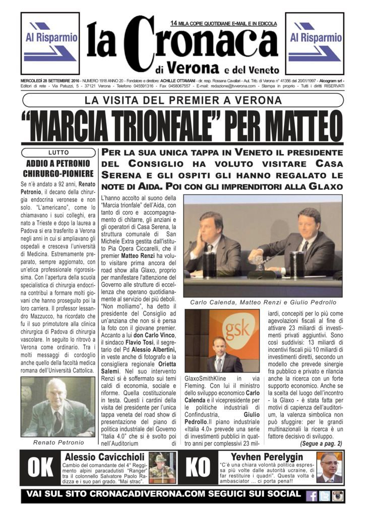 thumbnail of La Cronaca di Verona 28 settembre 2016