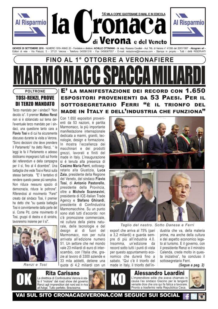 thumbnail of La Cronaca di Verona 29 settembre 2016