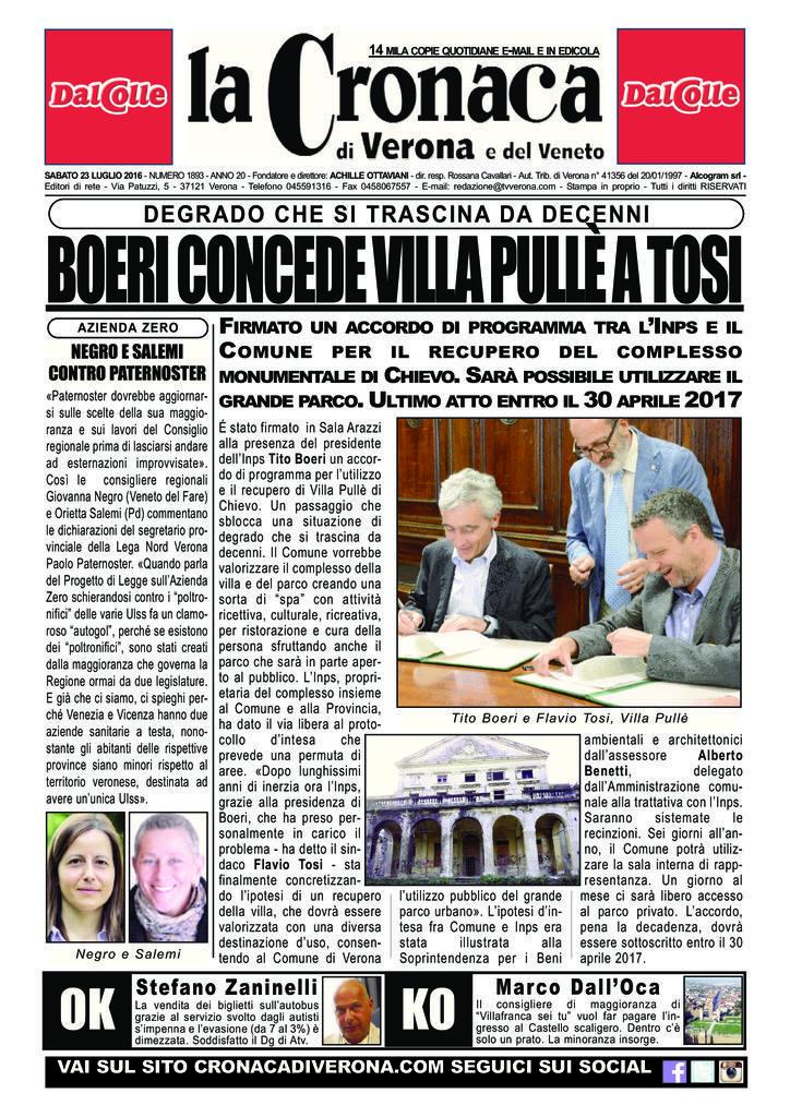 thumbnail of La Cronaca di Verona 23 luglio 2016