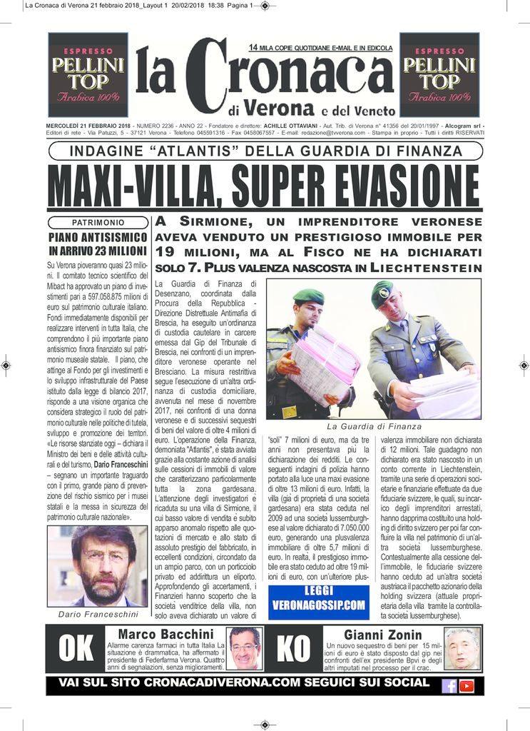 thumbnail of La Cronaca di Verona 21 febbraio 2018