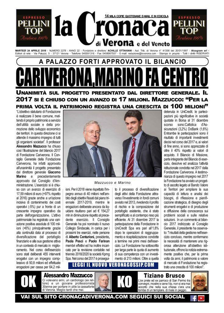 thumbnail of La Cronaca di Verona 24 aprile 2018