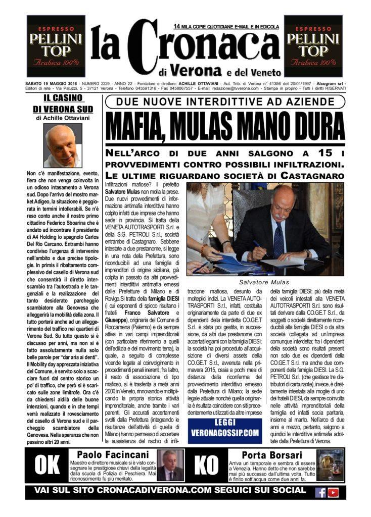 thumbnail of La Cronaca di Verona 19 maggio 2018